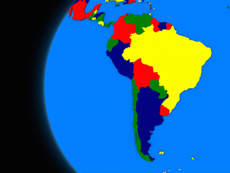 south america map: Illustration of south american continent on political globe with black background