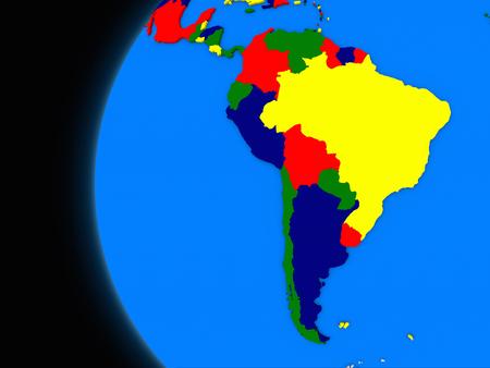 continente americano: Ilustración del continente suramericano en el globo político con fondo negro Foto de archivo