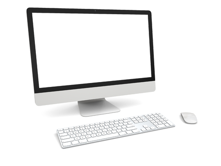 desktop computer: Modern desktop computer with white blank screen isolated on white background Stock Photo