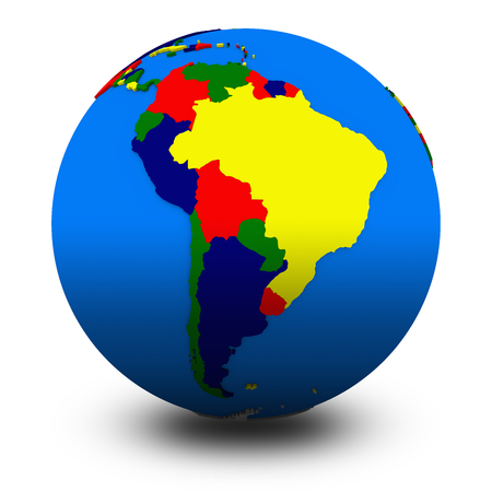 south america: south America on political globe, illustration isolated on white background with shadow