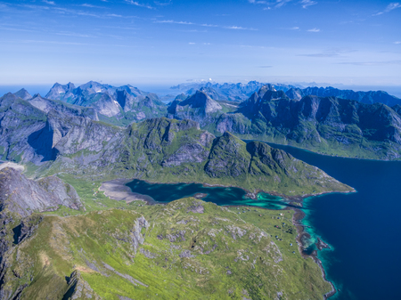 lofoten: Lofoten islands in Norway, famous for natural beauty, aerial view Stock Photo