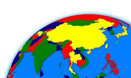 southeast: southeast Asia on globe, political map