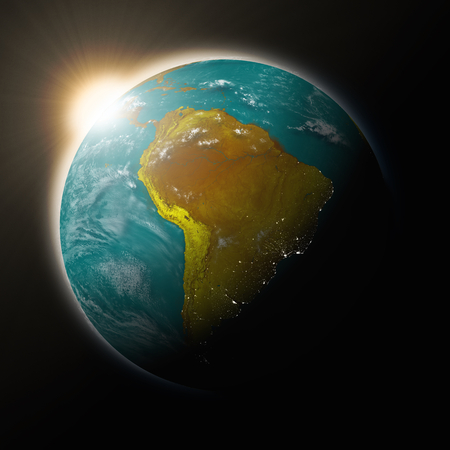 south america: Sun over South America on blue planet Earth isolated on black background. Highly detailed planet surface.