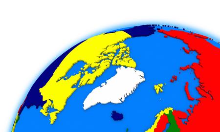 region: Arctic north polar region on globe, political map