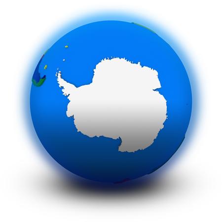 background antarctica: Antarctica on political globe, illustration isolated on white background Stock Photo