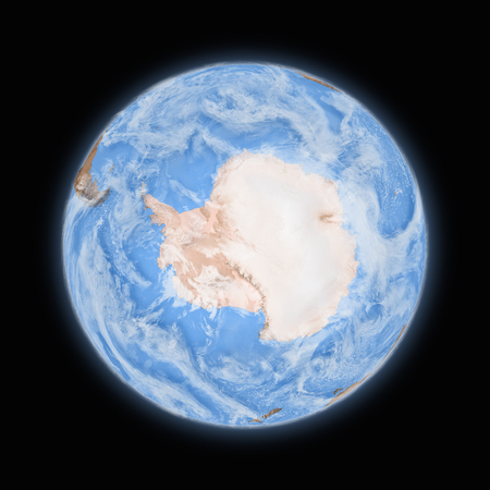 background antarctica: Antarctica on blue planet Earth isolated on black background. Highly detailed planet surface.  Stock Photo