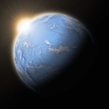 pacific ocean: Sun over Pacific Ocean on blue planet Earth isolated on black background.  Stock Photo