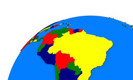 Political map of south America on globe