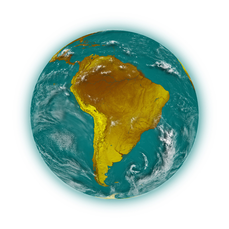 the blue planet: South America on blue planet Earth isolated on white background. Highly detailed planet surface.