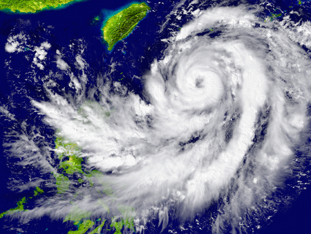 Huge hurricane approaching Southeast Asia.