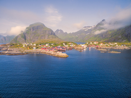 rorbuer: Picturesque fishing village A on Lofoten islands in Norway