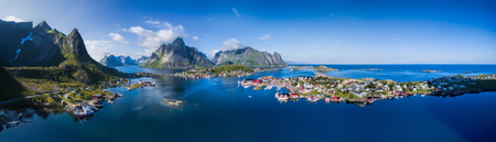 island: Scenic aerial panorama of fishing town Reine and surrounding fjords on Lofoten islands in Norway, famous for its breathtaking scenery
