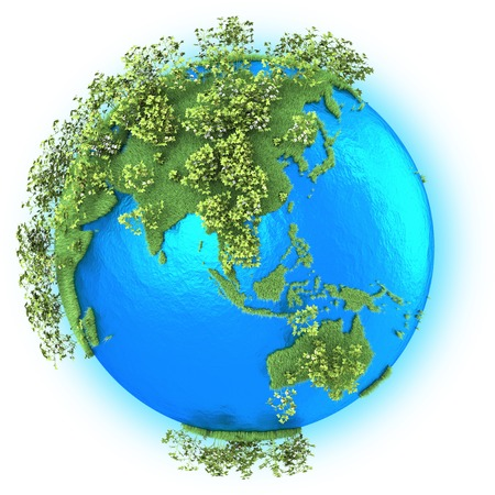 southeast: Southeast Asia and Australia on grassy planet Earth with cotton isolated on white background Stock Photo