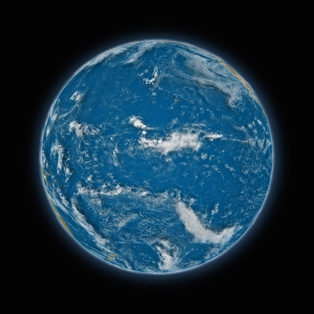 pacific ocean: Pacific Ocean on blue planet Earth isolated on black background. Highly detailed planet surface. Elements of this image furnished by NASA. Stock Photo