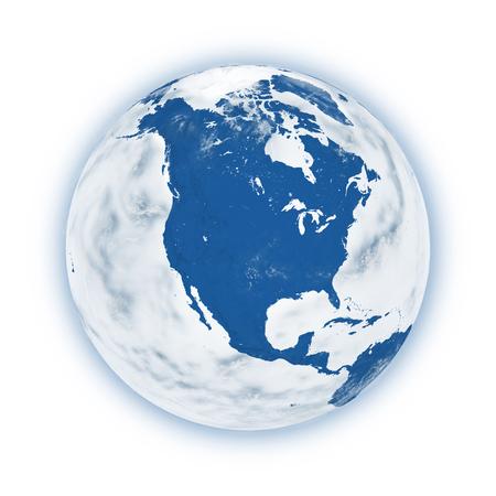 青い惑星地球白い背景で隔離の北アメリカ。非常に詳細な惑星の表面。