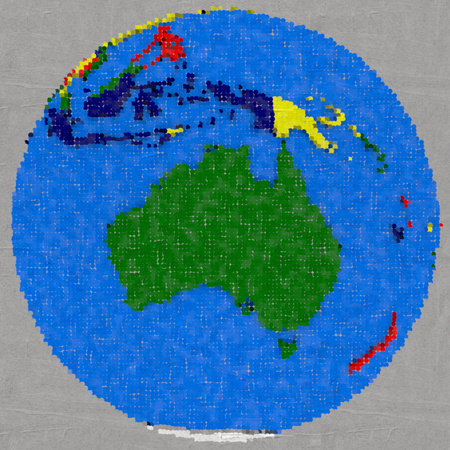 dotted: Drawing of Australia on globe, dotted illustration