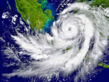 southeast asia: Huge hurricane over Southeast Asia. Elements of this image furnished by NASA