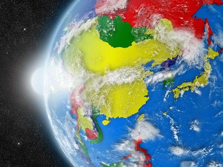 east asia: Concept of planet Earth as seen from space but with political borders aimed at east Asia region