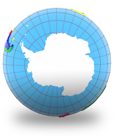 antarctic: Antarctic on the globe isolated on white background.