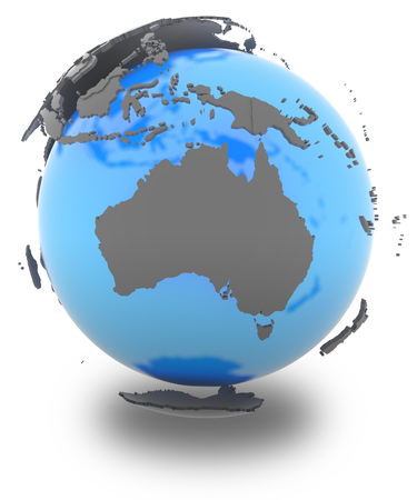 standing out: Australia standing out of blue Earth in grey, isolated on white background