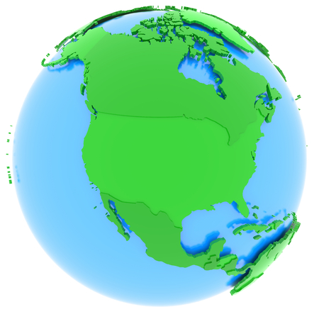 north america: Political map of North America with countries in different shades of green, isolated on white background. Stock Photo