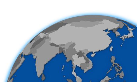 southeast Asia on globe, political map