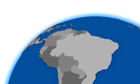 south america: south America on globe, political map