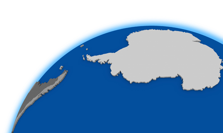 antarctica: Antarctica on globe, political map Stock Photo