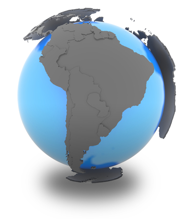 blue sphere: South America standing out of blue planet in grey, isolated on white background