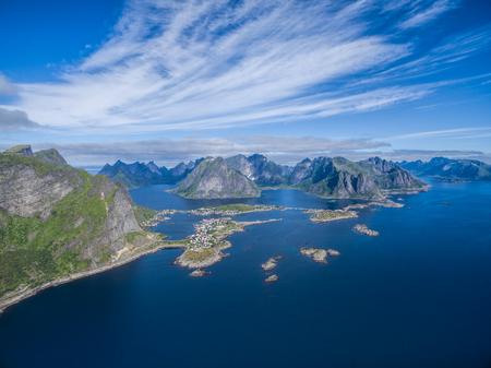 tourist destination: Scenic view of Reine, popular tourist destination on Lofoten islands in arctic norway Stock Photo