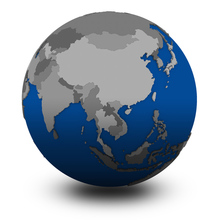 southeast Asia on political globe, illustration isolated on white background with shadow