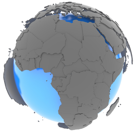 standing out: African continent standing out of blue Earth in grey, isolated on white background Stock Photo