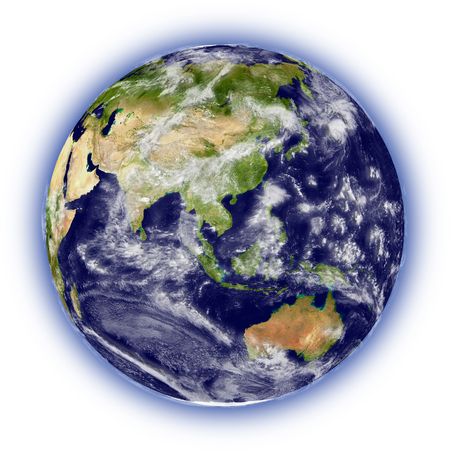 Realistic illustration of planet Earth on white background facing Australia, Indonesia and southeast Asia region Imagens