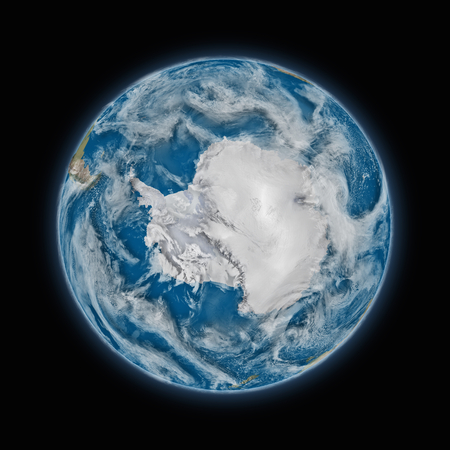 antarctica: Antarctica on blue planet Earth isolated on black background. Highly detailed planet surface.  Stock Photo