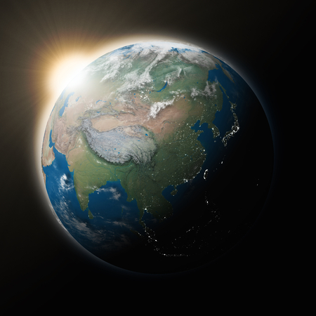 southeast asia: Sun over Southeast Asia on blue planet Earth isolated on black background.