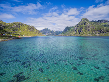 clear waters: Clear waters of fjord on Lofoten islands in Norway, aerial view Stock Photo