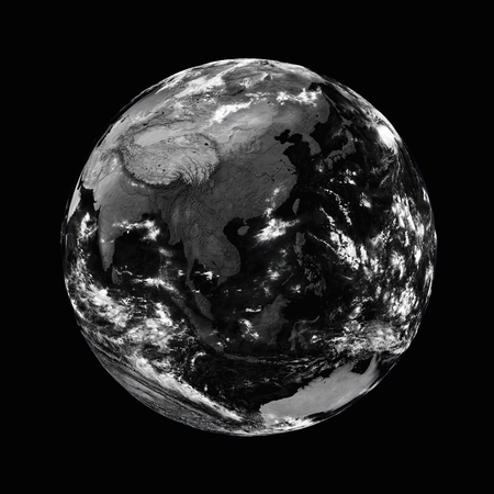southeast: Southeast Asia on black planet Earth isolated on blackbackground.   Stock Photo