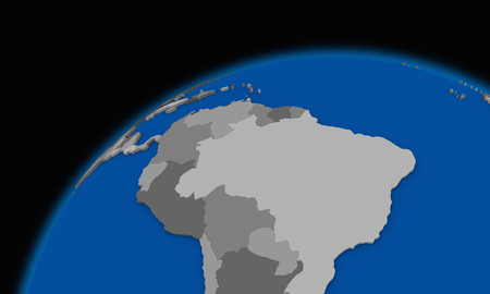 smog: south America on planet Earth, political map