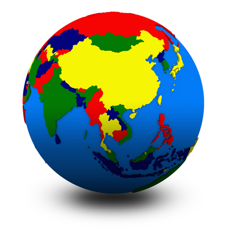 southeast: southeast Asia on political globe, illustration isolated on white background with shadow