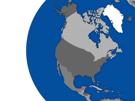 continente americano: Ilustración del continente de América del Norte en el globo político con fondo blanco