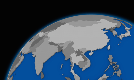world: southeast Asia on planet Earth, political map