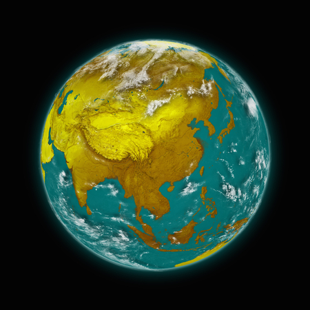 himalayas: Southeast Asia on blue planet Earth isolated on black background.   Stock Photo
