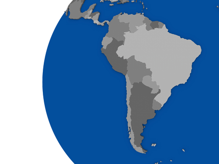 continente americano: Ilustración del continente suramericano en el globo político con fondo blanco