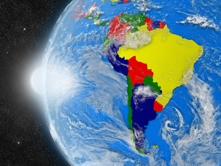 continente americano: Concept of planet Earth as seen from space but with political borders aimed at south american continent Foto de archivo