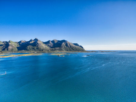 lofoten: Coast of Norway on Lofoten islands with magnificent mountain peaks