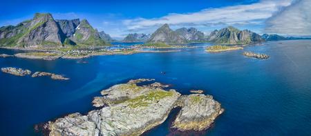 tourist destination: Scenic aerial panorama of Reine, popular tourist destination on Lofoten islands in arctic Norway Stock Photo