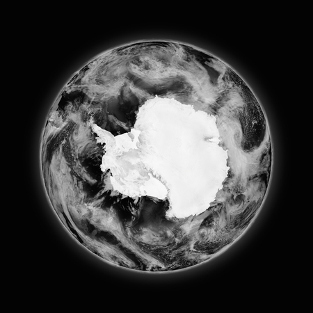 background antarctica: Antarctica on dark planet Earth isolated on black background. Highly detailed planet surface.
