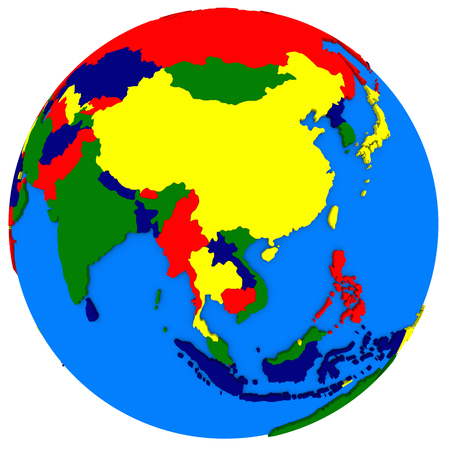 southeast asia: Political map of southeast Asia on globe, illustration isolated on white background