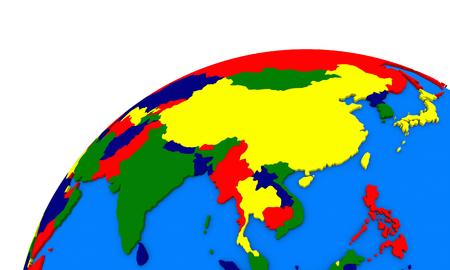 southeast asia: Political map of southeast Asia on globe
