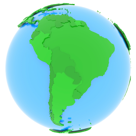 Political map of South America with countries in different shades of green, isolated on white background.